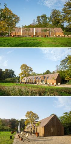 This modern barn-like building nine movable facade parts that open up the building in the morning and close it at night.#Barn #Architecture #BuildingDesign
