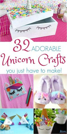 32 ADORABLE and Magical Unicorn Crafts you Just Have to Make! You may not be able to catch one of these elusive creatures, but you can have fun with these 32 ADORABLE Unicorn Crafts! Crafts For Teens To Make, Kids Crafts, Easy Crafts, Arts And Crafts, Craft Ideas For Girls, Crafts To Do, Fete Emma, Unicorn Crafts, Unicorn Diys
