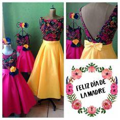 Dama de honor Dama Dresses, 15 Dresses, Fashion Dresses, Bridesmaid Dresses, Wedding Dresses, Mexican Party, Mexican Style, Mexico Fashion, Mexican Dresses