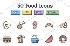 Food & Drinks – Epic landing icons by EpicShop on @creativemarket
