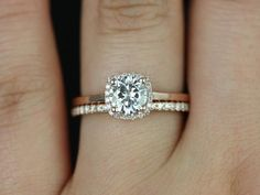 Um... wow.Rosados Box Bella Petite and Barra Rose Gold FB Moissanite and Diamond Cushion Halo Wedding Set