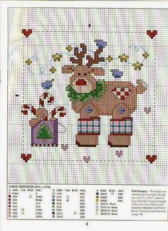 Cross-stitch Reindeer More Xmas Cross Stitch, Cross Stitch Needles, Counted Cross Stitch Patterns, Cross Stitch Charts, Cross Stitch Designs, Cross Stitching, Cross Stitch Embroidery, Christmas Cross, Christmas Sewing