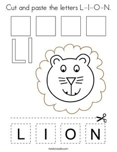 Cut and paste the letters L-I-O-N Coloring Page - Twisty Noodle Arts And Crafts For Kids Toddlers, Animal Activities For Kids, Preschool Activities, Teaching The Alphabet, Alphabet For Kids, Letter L, Letter A Crafts, Calendar Worksheets, Vintage Cupcake