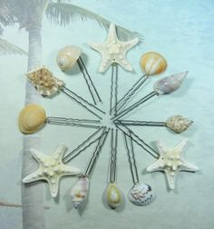 Starfish Seashell Hairpins Mermaids Natural Bridal Treasure by ShellScapes
