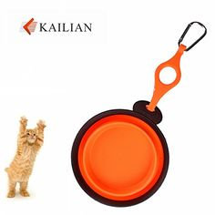 Kailian Travel Small Animal  Cat  Rabbit TPE Mini Bowls Collapsibe  Portable Pet Bowls Orange >>> You can get additional details at the image link.