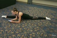 Texting while doing a split, very casual if your a dancer or gymnast