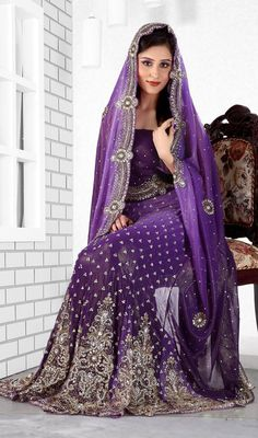 Purple Color Lengha Saree  Have to attend an Indian wedding and this is gorgeous!