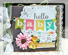 Hello Baby 6 x 6 Paper Bag Scrapbook Album by scrapdesignsbybrandi