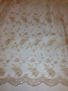 """Gold Mesh w Gold Metallic Embroidery Beads Sequins Bridal Lace Fabric 48"""" 1 Yd 