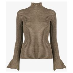 Acne Studios Raine turtleneck sweater ($540) ❤ liked on Polyvore featuring tops, sweaters, long sleeve tops, long sleeve turtleneck, turtle neck sweater, brown turtleneck and brown sweater