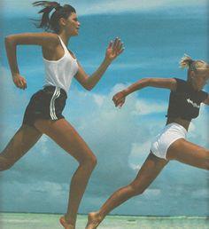 "80s-90s-supermodels:  ""Olympique"", ELLE France, July 1984Photographer: Gilles BensimonModels: Elle MacPherson and Marie Christine Debourse"