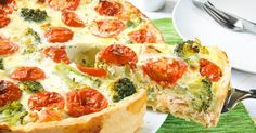 Recette de Quiche froide au saumon, brocolis et tomates spécial pique-nique. Facile et rapide à réaliser, goûteuse et diététique.
