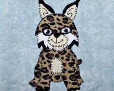 Bobcat or lynx PDF applique pattern; North American forest or woodland animal quilt; kid's or baby boy quilt block pattern