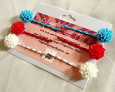 4th OF JULY COLORS-- Set of 6 cute Mum Resin Flowers Hair Pins (Girl,Women)
