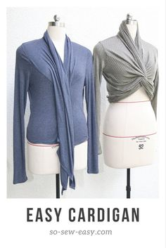 This free sewing pattern is a transformable easy cardigan. Sewing Patterns Free, Free Sewing, Baby Sewing, Clothing Patterns, Dress Patterns, Sewing Blogs, Easy Sewing Projects, Sewing Tutorials, Sewing Lessons