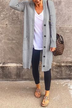 Button Up Long Sleeve Pocket Casual Cardigan – WHATWEARS