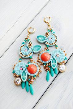 Soutache earrings beaded earrings turquoise от ByMimmiShop на Etsy