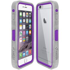 Amzer® CRUSTA™ Rugged Case Grey on Purple Shell Tempered Glass with Holster for iPhone 6 Plus