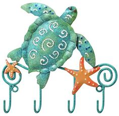 Tropical Sea Turtle Leash Key Rack Metal Hook Regal Art and Gift, Multi Rack Metal, Key And Letter Holder, Key Rack, Hook Rack, Thing 1, Nautical Bathrooms, Key Hooks, Towel Hooks, Wall Hooks