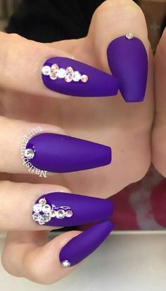 Purple matte rhinestone nails @nailsbymztina
