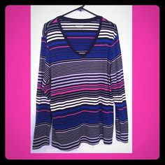Cute Striped Cotton V-Neck Top. Sz 3x Cute Striped Cotton V-Neck Top. Sz 3x. Barely  worn & in great condition ! Lightweight & comfortable. 100% Cotton. Colors are black, off-white, hot pink & royal blue. Very cute! Merona Tops