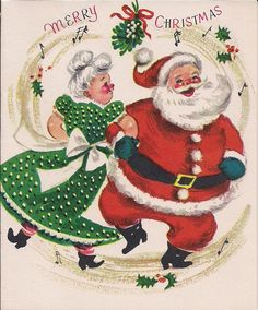 Merry Christmas xmas Mrs Santa Claus bows ribbons mistletoe musical notes music dancing dance couples husband wife vintage retro kitsch fabric by raveneve on Spoonflower - custom fabric Vintage Christmas Images, Old Fashioned Christmas, Christmas Past, Retro Christmas, Vintage Holiday, Christmas Pictures, Christmas Mantles, Xmas, Silver Christmas