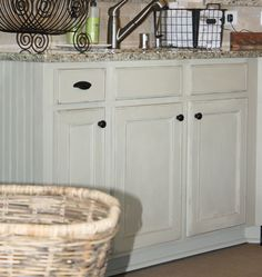 chalk painted kitchen cabinets, chalk paint, doors, home decor, kitchen cabinets, kitchen design, Lower cabinets in Country Grey