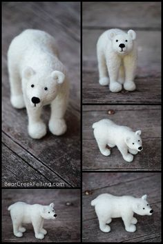 Polar Bear Sculpture Needle Felted Animal Art by BearCreekDesign