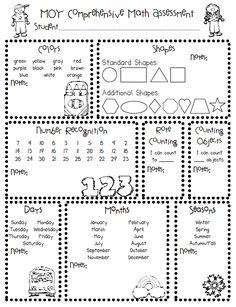 Done-printed for school year. Pre-K/Kindergarten Printable Math Assessment Kindergarten Readiness, Kindergarten Classroom, Teaching Math, Maths, Kindergarten Assessment Checklist, Kindergarten Preparation, Teaching Ideas, Teacher Resources, Classroom Ideas