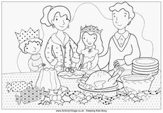 Family Christmas dinner colouring page