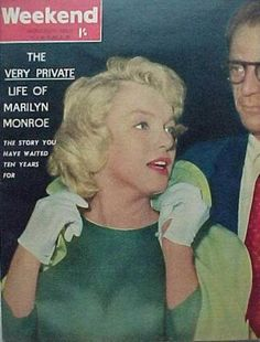 """Weekend - April 1960, magazine from Australia. Front cover photo of Marilyn Monroe with then-husband, Arthur Miller, on their arrival in London, where Marilyn would film """"The Prince and The Showgirl"""", 1956."""