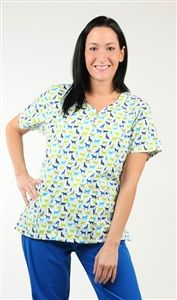 """ASPCA Women's Three Pocket Scrub Print Top in """"Purrs & Furs"""" 3015      ASPCA Women's Three Pocket Scrub Print Top in """"Purrs & Furs""""    Women's three pocket top features set-in sleeves, and flattering soft v-neck.  Fabric: 65/35 brushed Poly/Cotton blend  Sizes: XS - 3XL $19.50 #scrubcouture #aspca #scrubs #nurses"""