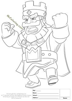 Printable Red King Clash Royale Online Coloring Pages - 1