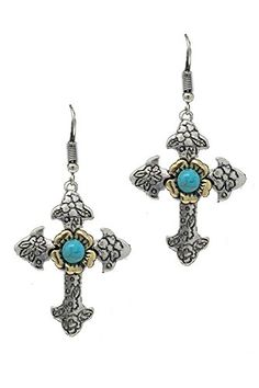 WESTERN FLOWER CARVED CROSS EARRING -Length Approx:2″ -Fish hook -Adult only Features WESTERN FLOWER CARVED CROSS EARRING -Length Approx:2″ -Fish hook -Adult only Imported