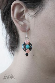 "#Earrings #Macrame ""Galaxia Rosa"" / ""Pink Galaxy"""