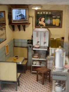 Amazing Miniature restaurant - 1/12 scale... Love it! Miniature Rooms, Miniature Kitchen, Miniature Crafts, Miniature Houses, Miniature Furniture, Tiny World, Mini Things, Miniture Things, Dollhouse Miniatures