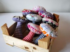 mushroom softies in a mix of gingham, liberty prints and vintage stitching. by Mette of Erleperle