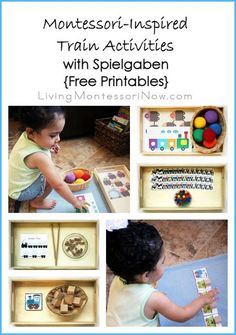 Ideas for creating Montessori-inspired train activities using Spielgaben educational toys and free train printables; post includes the Montessori Monday linky permanent collection.