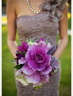 Flowering Purple Kale Wedding Bouquets & Centerpieces