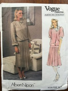Vintage 1980s, Sewing Pattern, Vogue 1410, Albert Nipon, Dress Size 12 Bust 34 Uncut Mother of the Bride 1980s shoulder pads, power dressing,  Etsy weseatree patterns 1980s