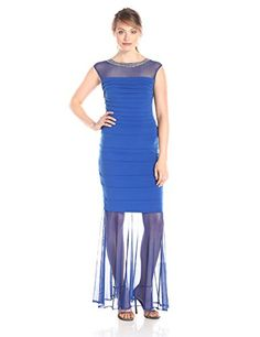 Sangria Pleat Gown with Beaded Neckline and Sheer Hem, Sapphire - http://www.womansindex.com/sangria-pleat-gown-with-beaded-neckline-and-sheer-hem-sapphire/