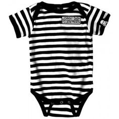62809e28b8a Johnny Cash- Folsom Prison embroidered on a black white striped onesie -  Baby Shirts (Onesies)