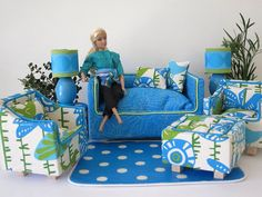 Blue Barbie Sofa by ThePetiteSuite on Etsy