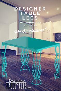 Art Deco Table  Www.DesignerTableLegs.com Gadsby Art Deco Table Legs Teal  Metal