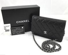 Authentic Chanel Black Caviar Wallet On Chain WOC Crossbody Bag, Full Set #CHANEL #MessengerCrossBody