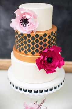 Paper Flowers as accents on a wedding cake