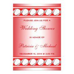 Baseball Player Fan Wedding Shower Red White Personalized Invitation
