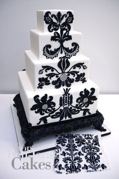 black/white damask inspired square #cake