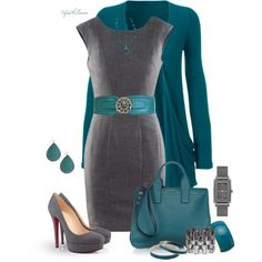 Teal & Grey by tufootballmom on Polyvore featuring H&M, Miu Miu, DKNY, Janna Conner Designs, Chanel, Dara Ettinger and Lodis
