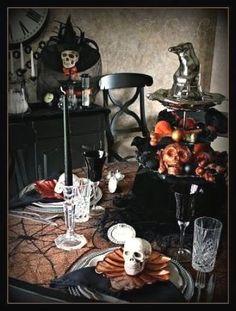 love the Halloween table settings